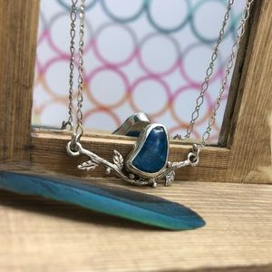 "Gorgeous blue ""bird on branch"" necklace"